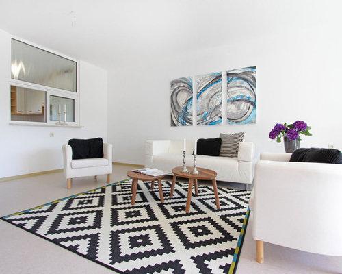 mittelgroes abgetrenntes modernes wohnzimmer ohne kamin mit weier wandfarbe in sonstige - Moderne Wohnzimmer Ideen