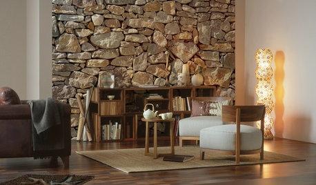 Herrlich urige Wohnzimmer: Ideen für Wandgestaltung in Steinoptik