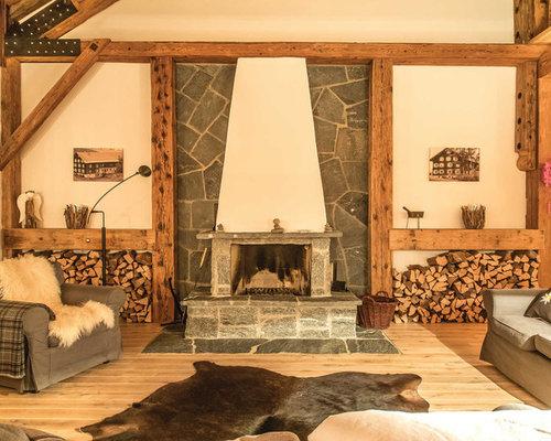rustikale wohnzimmer - ideen, design, bilder & beispiele - Boden Und Wandgestaltung In Weis Modern Haus