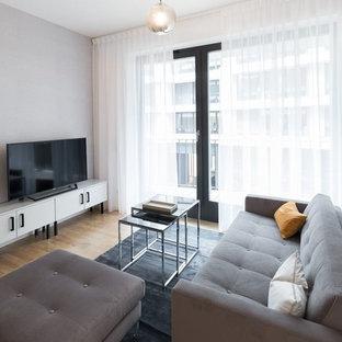 Abgetrenntes, Kleines Modernes Wohnzimmer mit grauer Wandfarbe, hellem Holzboden, freistehendem TV und braunem Boden in Berlin
