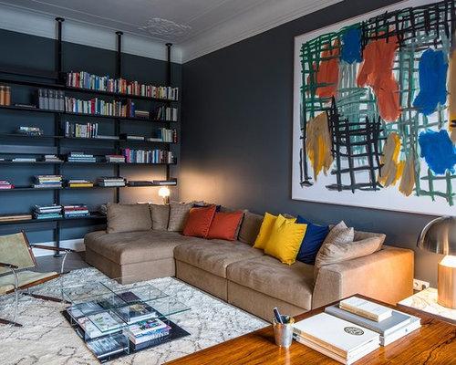Kleine, Abgetrennte Moderne Bibliothek Ohne Kamin Mit Schwarzer Wandfarbe  In Hamburg