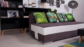 Kaktus-Motive auf dem Sofa