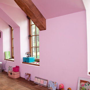 Mid-sized farmhouse dark wood floor and brown floor family room photo in Cologne with pink walls