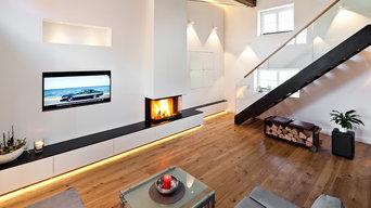 Kamin als Loft-Wohnwärmemöbel® mit Stauraum und Medientechnik