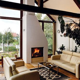 Modernes Wohnzimmer Mit Weißer Wandfarbe, Braunem Holzboden, Kamin Und  Verputztem Kaminsims In München