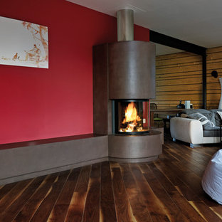 Family room - contemporary dark wood floor family room idea in Munich with red walls, a corner fireplace and a metal fireplace