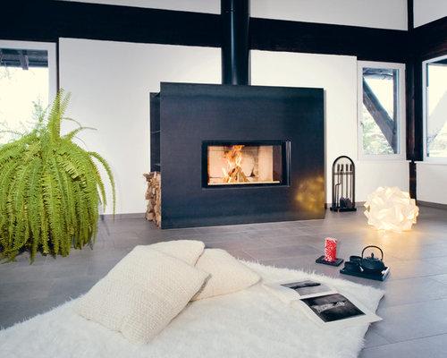 Wohnideen für wohnzimmer mit kaminsims aus metall   ideen & design ...