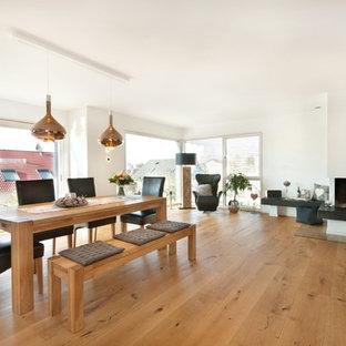 Modelo de biblioteca en casa abierta, actual, grande, con paredes blancas, suelo de madera clara, estufa de leña, marco de chimenea de yeso y suelo marrón
