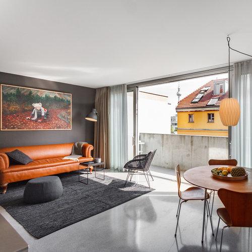 Mittelgroßes, Repräsentatives, Fernseherloses, Offenes Mid Century  Wohnzimmer Ohne Kamin Mit Grauer Wandfarbe