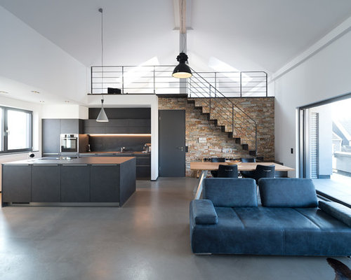 Inspiration For A Large Industrial Loft Style And Formal Concrete Floor And  Gray Floor Living Part 68