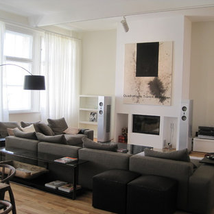 Diseño de sala de estar abierta, actual, de tamaño medio, sin televisor, con paredes blancas, suelo de madera en tonos medios, chimenea tradicional y marco de chimenea de yeso