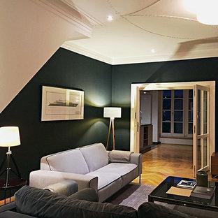 Soggiorno con pareti blu Monaco di Baviera - Foto e Idee per ...