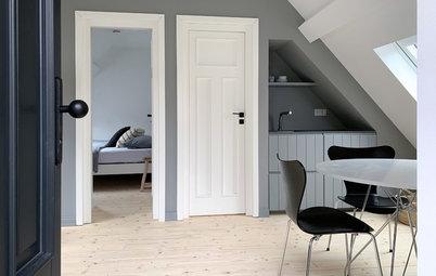 Scandi meets Fachwerk in einer Mini-Wohnung im Scheunendach