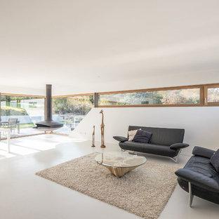 Offenes Modernes Wohnzimmer mit weißer Wandfarbe, Betonboden, Hängekamin und grauem Boden in Sonstige