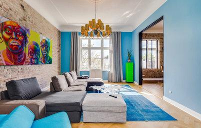 Houzz Германия: Кирпич, золото и амбарные ворота в гамбургской квартире