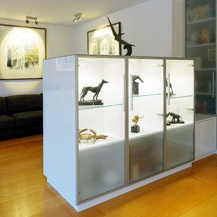 Imagen de salón cerrado, contemporáneo, con paredes blancas, suelo de madera clara y televisor retractable