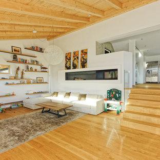 他の地域の広いコンテンポラリースタイルのおしゃれなリビングロフト (フォーマル、白い壁、淡色無垢フローリング、茶色い床、薪ストーブ、金属の暖炉まわり、内蔵型テレビ) の写真