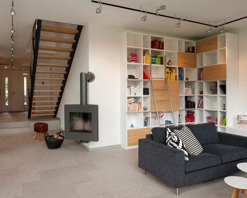 Wohnidee Fr Offene Moderne Wohnzimmer Mit Weissen Wnden Eckkamin Travertin Boden Und Grauem
