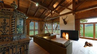 Offene Feuerstelle aus Stahl & Naturstein