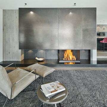 Offener Designkamin für modernes Architektenhaus