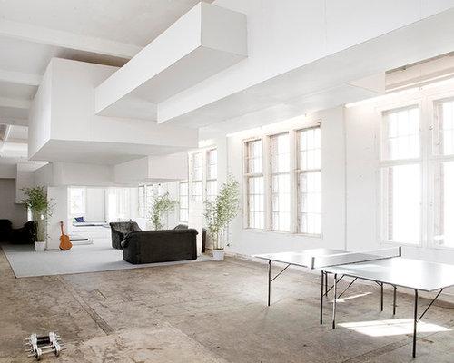 wohnzimmer im loft style mit wei en w nden ideen design houzz. Black Bedroom Furniture Sets. Home Design Ideas