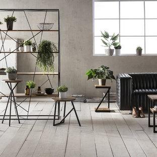 Modelo de sala de estar cerrada, urbana, pequeña, sin chimenea y televisor, con paredes grises, suelo de madera clara y suelo gris