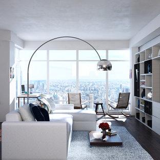 Immagine di un grande soggiorno contemporaneo stile loft con libreria, parquet scuro, camino ad angolo, TV a parete, pavimento marrone, pareti bianche e cornice del camino in metallo