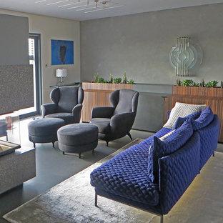 Mittelgroßes Eklektisches Wohnzimmer mit grauer Wandfarbe, Linoleum und Kaminsims aus Stein in Sonstige