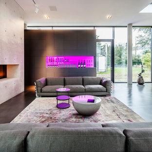 Foto di un ampio soggiorno minimal con angolo bar, pareti grigie, pavimento in cemento, camino bifacciale e cornice del camino in pietra