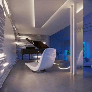 Ispirazione per un grande soggiorno moderno aperto con sala della musica, pareti bianche, pavimento in cemento, camino lineare Ribbon, cornice del camino in intonaco, TV nascosta e pavimento grigio