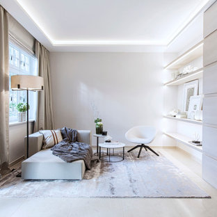 Modelo de sala de estar abierta, escandinava, pequeña, sin chimenea, con paredes blancas y suelo de madera clara