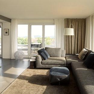 Kleines, Abgetrenntes Modernes Wohnzimmer ohne Kamin mit weißer Wandfarbe, Linoleum und grauem Boden in Stuttgart