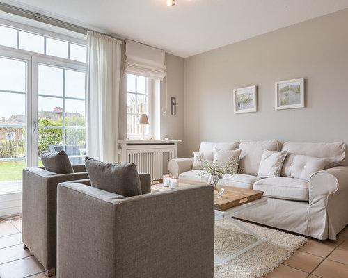 wohnzimmer mit terrakottaboden und grauer wandfarbe ideen design bilder beispiele. Black Bedroom Furniture Sets. Home Design Ideas