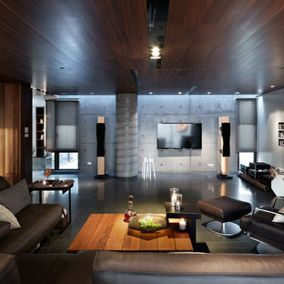 Design ideas for a large asian open concept living room in Stuttgart with grey walls and a wall-mounted tv.