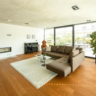 Mittelgroßes Modernes Musikzimmer mit hellem Holzboden, Kamin, verputztem Kaminsims, weißer Wandfarbe und braunem Boden in Stuttgart