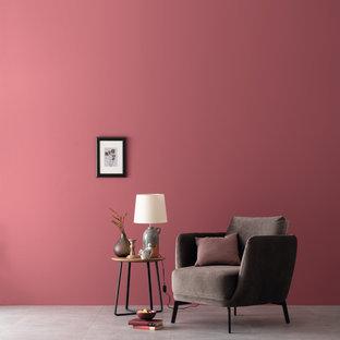 ハンブルクのコンテンポラリースタイルのおしゃれなファミリールーム (赤い壁) の写真