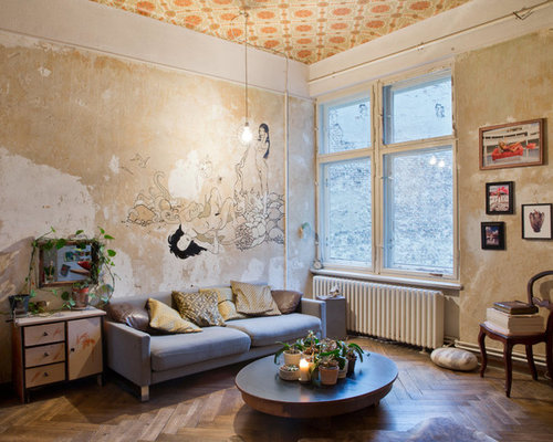 Shabby-Chic Style Living Design Ideas, Renovations & Photos with Multi ...