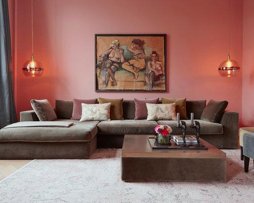 wohnzimmer mit rosa wandfarbe ideen design bilder