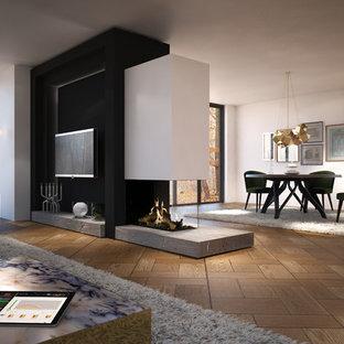 Ispirazione per un grande soggiorno chic aperto con sala formale, pareti bianche, pavimento in legno verniciato, camino bifacciale, cornice del camino in intonaco, nessuna TV e pavimento beige