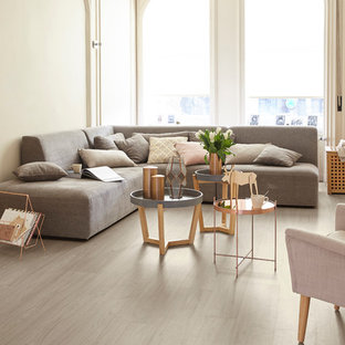 Living room - mid-sized scandinavian light wood floor living room idea in Dresden with beige walls
