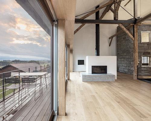 Photos et idées déco de pièces à vivre montagne avec une cheminée ...