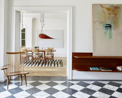 reprsentative offene skandinavische wohnzimmer mit weier wandfarbe und marmorboden in mnchen - Marmorboden Wohnzimmer