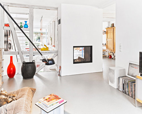 Mid Sized Trendy Open Concept Living Room Photo In Stuttgart With White Walls Linoleum