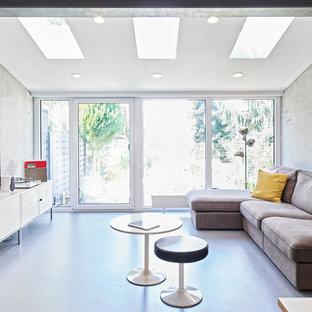 Immagine di un soggiorno industriale con TV autoportante, pareti grigie, pavimento in linoleum e nessun camino
