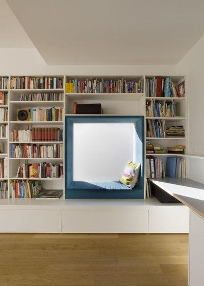 modern wohnzimmer by goderbauer architects - Bcherregal Ideen Neben Kamin