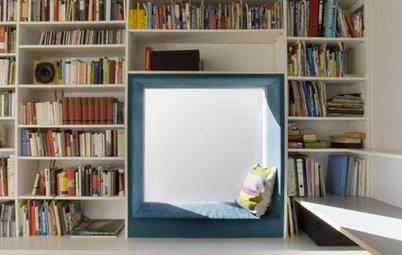 Stylische Idee: Eine Sitznische im Bücherregal