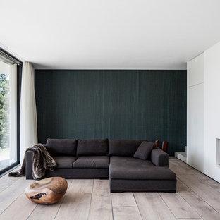 Repräsentatives, Offenes, Mittelgroßes, Fernseherloses Modernes Wohnzimmer mit weißer Wandfarbe, braunem Holzboden, verputzter Kaminumrandung, braunem Boden und Gaskamin in Frankfurt am Main
