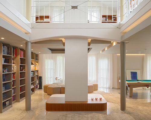 Awesome Geräumige, Offene Moderne Bibliothek Mit Weißer Wandfarbe Und Marmorboden  In Stuttgart Pictures