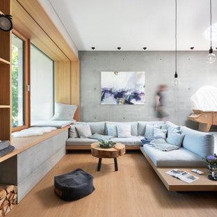 Repräsentatives, Großes, Fernseherloses Modernes Wohnzimmer mit grauer Wandfarbe, Kaminumrandung aus Metall und beigem Boden in München