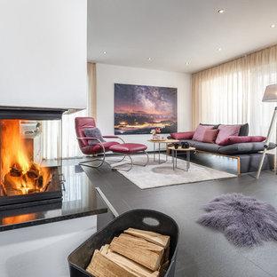 Repräsentatives, Fernseherloses, Offenes Modernes Wohnzimmer in Sonstige